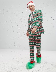 OppoSuits Suit Tie In Xmas Print - Green