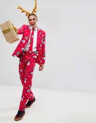 OppoSuits Suit Tie In Xmas Print - Red