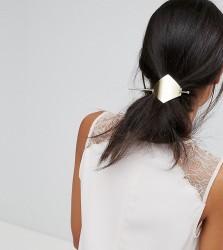 Orelia Brushed Diamond Thread Through Hair Clip - Gold