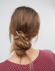 Orelia Brushed Navette Barrette Hair Clip - Gold
