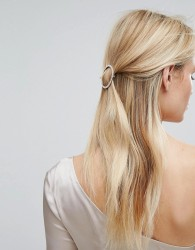 Orelia Crystal Open Circle Hair Clip - Gold