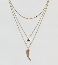 Orelia Gold Layering Necklace Pack With Cresent Detail - Gold