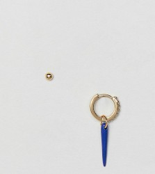 Orelia gold plated blue single horn charm earring - Gold