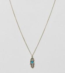Orelia gold plated feather pendant with semi precious stone - Gold