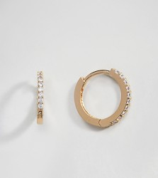 Orelia Gold Plated Gold Plated Small Crystal Huggie Hoop Earrings - Gold