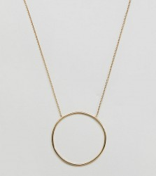 Orelia gold plated hammered circle long pendant necklace - Gold