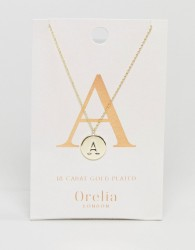 Orelia Gold Plated Initial A Disc Pendant - Gold