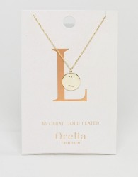 Orelia Gold Plated Initial L Disc Pendant - Gold