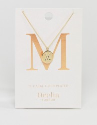 Orelia Gold Plated Initial M Disc Pendant - Gold