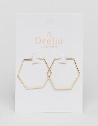 Orelia Gold Plated Medium Hexagon Hoop - Gold