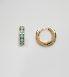 Orelia gold plated turquoise stone huggie hoops - Gold