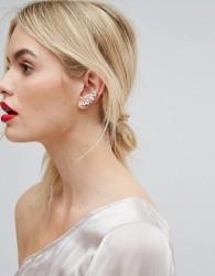 Orelia Swarovski Crystal Ear Climber & Stud Earrings - Gold