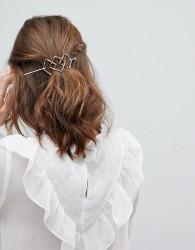Orelia Triple Diamond Thread Through Hair Clip - Gold