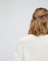 Orelia Triple Heart Thread Through Hair Clip - Gold
