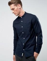 Original Penguin Collarless Oxford Shirt in Navy - Navy