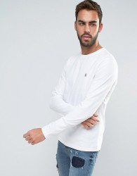 Original Penguin Long Sleeve Top Small Logo Slim Fit in White - White