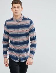 Original Penguin Over Shirt Stripe Flannel Heritage Slim Fit in Navy - Navy