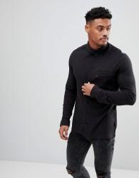 Original Penguin Pique Button Down Shirt Small Logo Slim Fit in Black Marl - Black