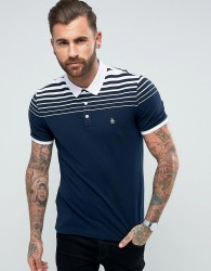 Original Penguin Pique Polo Gradient Stripe Slim Fit Small Logo in Navy - Navy