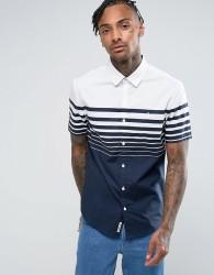 Original Penguin Short Sleeve Slim Fit Shirt With Gradiant Stripe In Navy - Navy