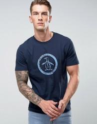 Original Penguin T-Shirt Distressed Circle Logo Slim Fit in Navy - Navy