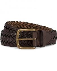 Oscar Jacobson Braided Leather Belt 3,5 cm Dark Brown men 90 Brun