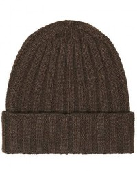 Oscar Jacobson Cashmere Ribbed Beanie Light Brown men One size Brun