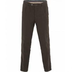 Oscar Jacobson Delon Cotton/Linen Garment Wash Pleated Trousers Olive