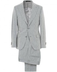 Oscar Jacobson Elmer Wool Chalkstriped Peak Lapel Suit Light Grey men 46