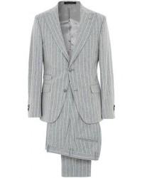 Oscar Jacobson Elmer Wool Chalkstriped Peak Lapel Suit Light Grey men 50