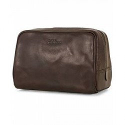 Oscar Jacobson Leather Washbag Dark Brown