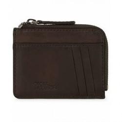 Oscar Jacobson Leather Zip Credit Card Holder Dark Brown