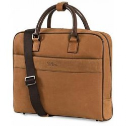 Oscar Jacobson Nubuck Computer Bag Dark Brown