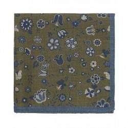Oscar Jacobson Printed Flower Pocket Square Green