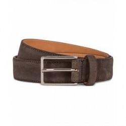 Oscar Jacobson Suede Belt 3 cm Dark Brown