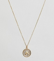 Ottoman Hands gold plated A initial pendant necklace - Gold