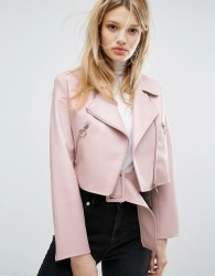 Outstanding Ordinary Faux Leather Jacket With Belt Detail - Pink