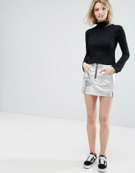 Outstanding Ordinary Faux Leather Mini Skirt In Metallic Silver - Silver