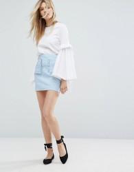 Outstanding Ordinary Mini Skirt In Light Check - Blue