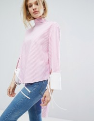 Outstanding Ordinary Relaxed Blouse In Pinstripe With High Neck - Pink