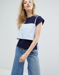 Outstanding Ordinary T-Shirt With Tie Up Cami Layer - Blue
