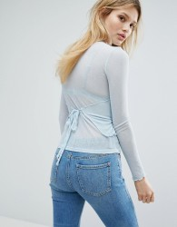 Outstanding Ordinary Tie Back Long Sleeve Top - Blue