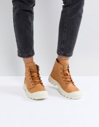 Palladium Pampa Hi Leather Tan Flat Ankle Boots - Tan