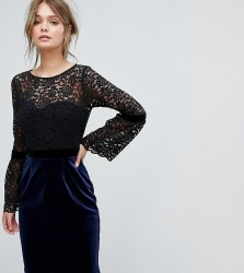 Paper Dolls 2 in 1 Midi Lace Dress with Fluted Sleeve And Velvet Skirt - Black