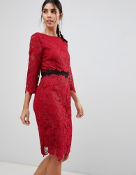 Paper Dolls 3/4 Sleeve Belted Lace Pencil Dress - Red