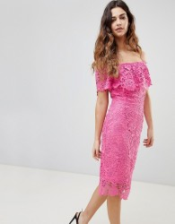 Paper Dolls Bardot Lace Pencil Dress With Frill Detail - Pink