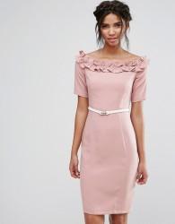 Paper Dolls Bardot Midi Dress with Belt and Ruffle Detail - Pink