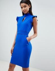 Paper Dolls cap sleeve keyhole dress - Blue