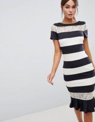 Paper Dolls Charcoal And Cream Stripe Dress - Grey