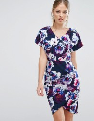 Paper Dolls Floral Printed Pencil Dress - Navy